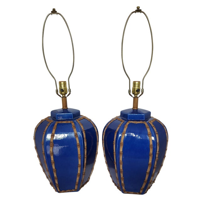 Blue Glazed Faux Bamboo Lamps - A Pair - Image 1 of 3