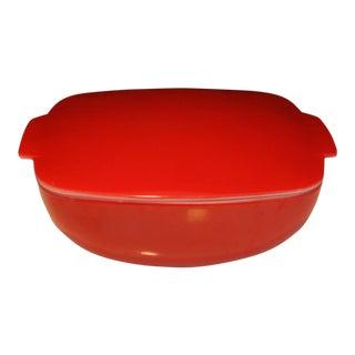 Vintage Large Red Pyrex Square Lidded Hostess Bowl