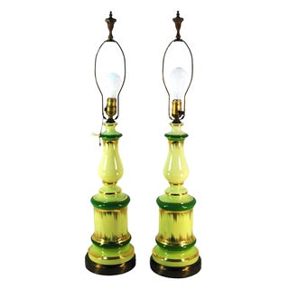 Hollywood Green & Gold Table Lamps - A Pair