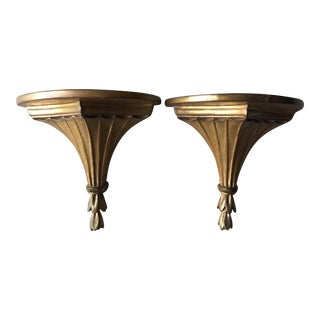 Vintage Neo-Classical Gilt Wall Brackets - A Pair