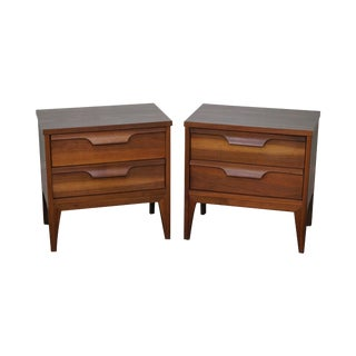 Mid Century Modern Walnut 2 Drawer Nightstands - a Pair
