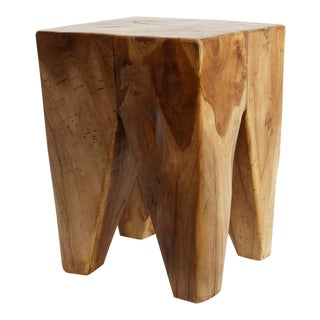 Square Teak Root Stool