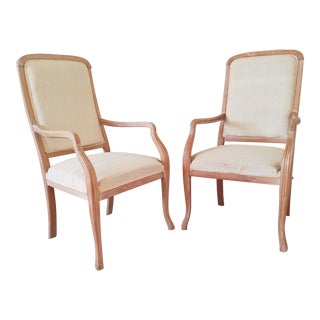 Hand Carved Louis XVI Fauteuil a La Reine Chairs - A Pair