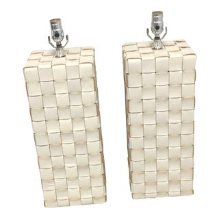 Woven Leather Clad Table Lamps - A Pair