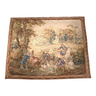 Large 18th Century Belgium Hunting Scene Tapestry with Horsemen Dogs and Deer