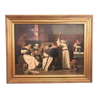 A Late 19th Early 20th Century Oil Painting Of A Group Of Monks On Board