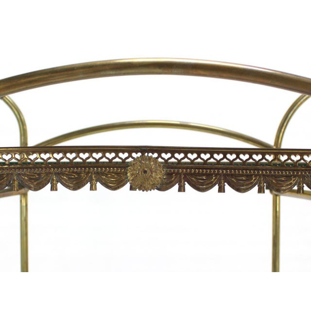 Two-Tier Brass Serving Cart Table with Removable Trays - Image 3 of 10
