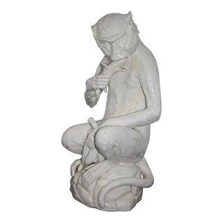 Vintage White Ceramic Monkey Figurine