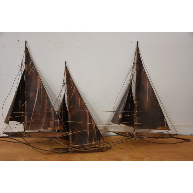 Curtis Jere Sailboat Wall Hanging Sculpture - Image 10 of 11