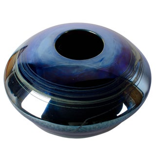 Joan Reep Silver Glass Bowl Flying Disc Vessel Bird