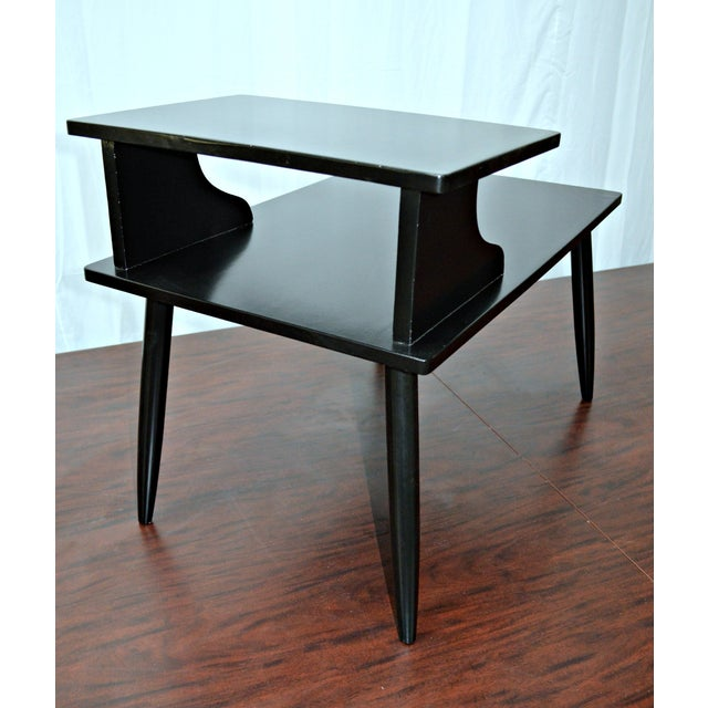 mid century two tiered black accent table chairish. Black Bedroom Furniture Sets. Home Design Ideas