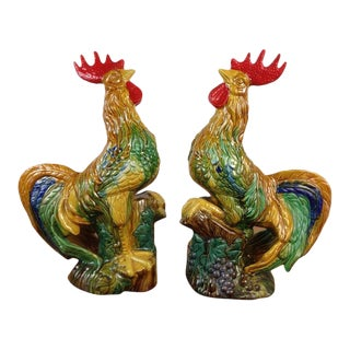 Ceramic Rooster Figurines - Set of 2