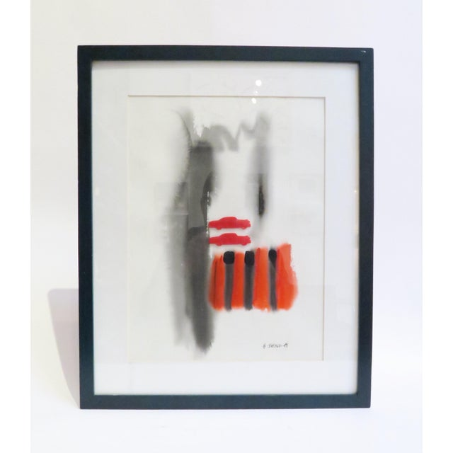 Image of Vintage Framed Abstract Watercolor Painting