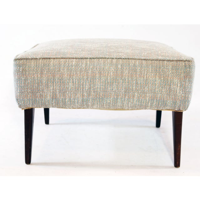 Mid Century Blue Tan And Ivory Tweed Ottoman - Image 3 of 4
