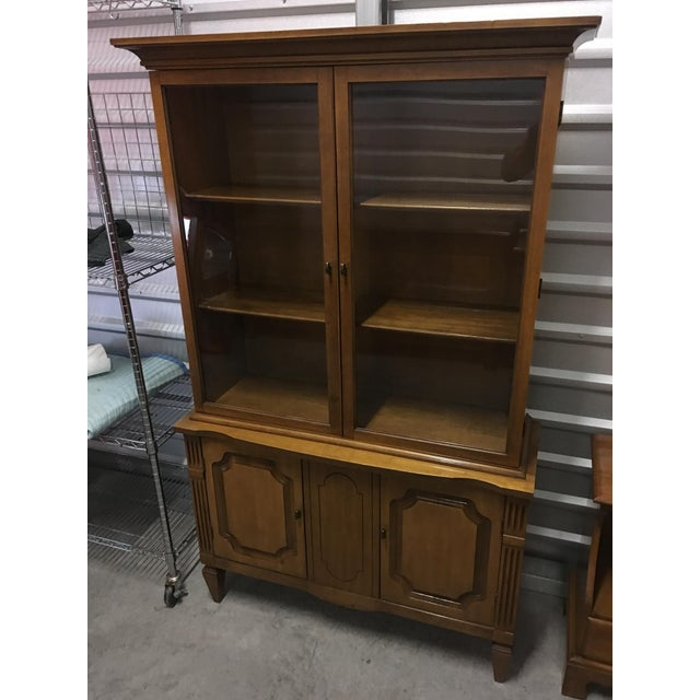 Vintage Fruitwood Hutch China Cabinet - Image 5 of 7