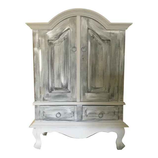 Vintage Distressed White Wine Cabinet - Image 1 of 8