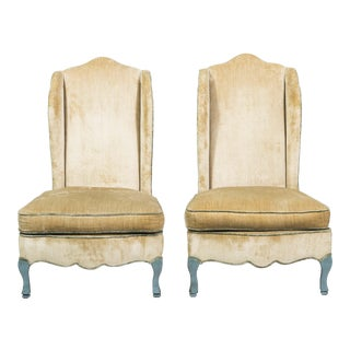 French Provincial Style Winged Slipper Chairs - A Pair