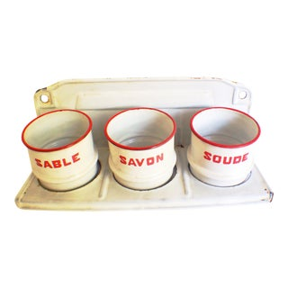 Antique French Enamelware Laundry Canister Set
