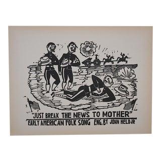 Vintage Woodcut-John Held Jr.-Americana c.1930