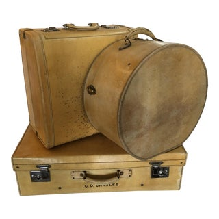 Vintage English Vellum Suitcases & Hat Box - Set of 3