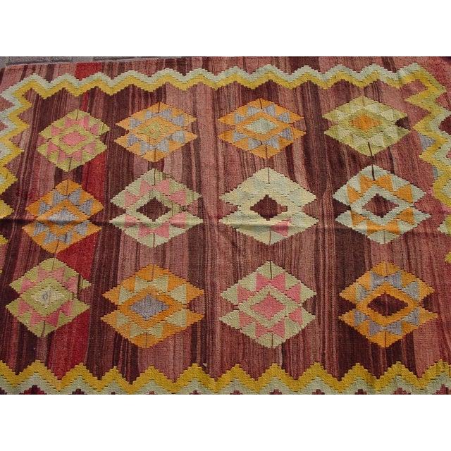 """Vintage Turkish Kilim Rug - 4'11"""" x 6'11"""" - Image 7 of 11"""