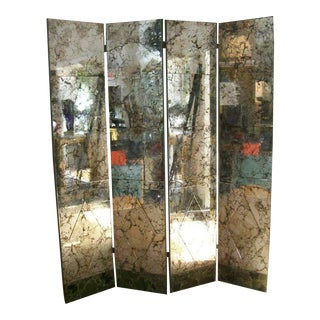 A Four-Panel Old and Distressed Mirrored Screen