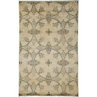 "New Oushak Hand Knotted Area Rug - 4'1"" x 6'4"""