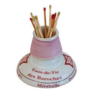 Chic Parisian Cafe Bar French Porcelain Match Striker & Holder