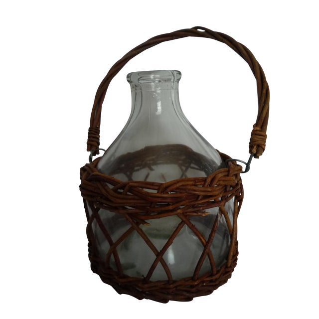 Vintage Demijohn in Basket - Image 1 of 5