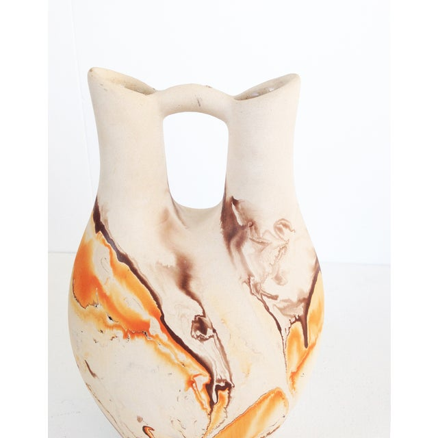 Image of Vintage Nemadji Pottery Orange & Brown Vase