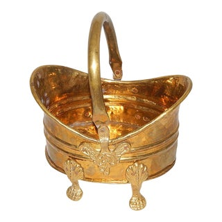 Hollywood Regency Brass Footed Basket Vessel With Handle