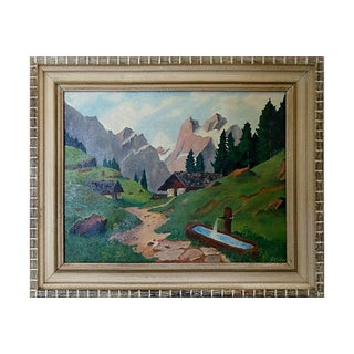 Mid-Century Mountain Scene Oil Painting