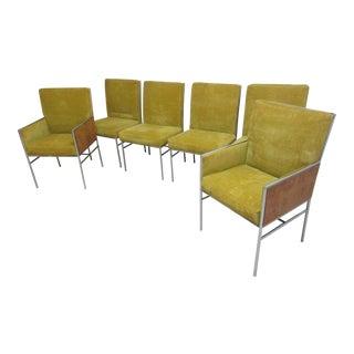 Milo Baughman Thayer Coggin Chrome Burl Wood Dining Chairs - S/6