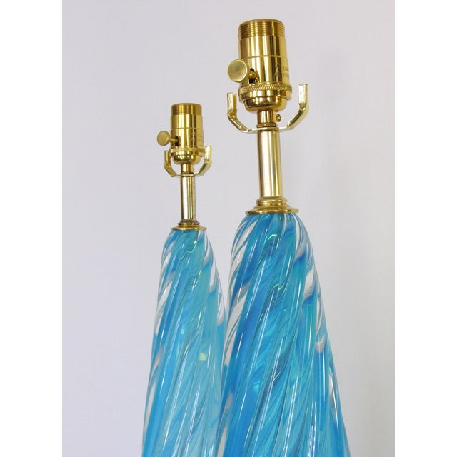 Image of Barovier & Toso Blue and Gold Italian Murano Glass Mid-Century Modern Table Lamps Venetian - a Pair