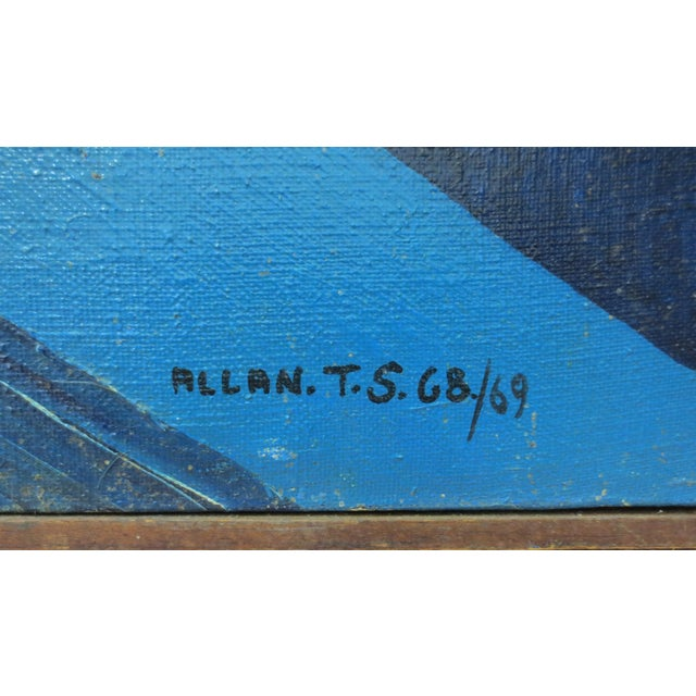 Image of Allan Vintage Large Abstract Oil Painting