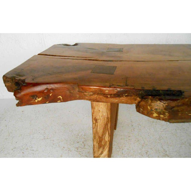 Vintage Rustic Free Edge Coffee Table Natural Wood Slab: Rustic Wood Slab Coffee Table