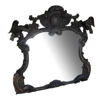 18th C. French Carved Mirror Frame with Parrots