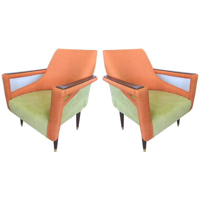 Angled Mid-Century Modern Club Chairs - Pair - Image 1 of 9