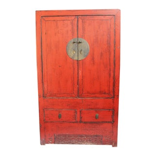 Antiqued Red Lacquer Armoire