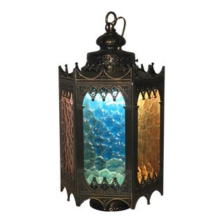 Gothic Brass Swag Lamp with Multi Colored Glass