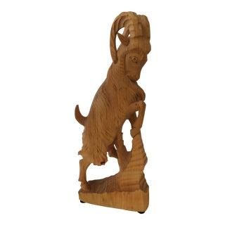 Carved Wood Ram Sculpture