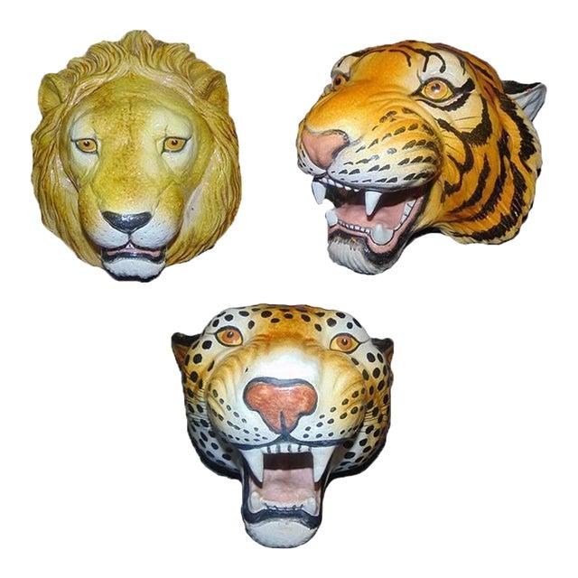 Italian Ceramic Safari Busts - Set of 3 - Image 1 of 9
