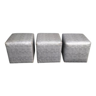 Vintage Contemporary Silver Snake Pattern Leather Ottomans - Set of 3