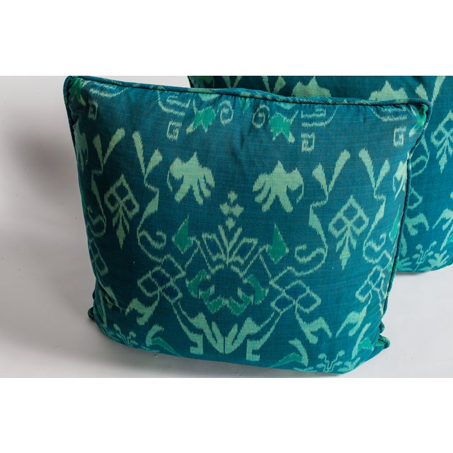 Image of Teal Ikat Throw Pillows - A Pair