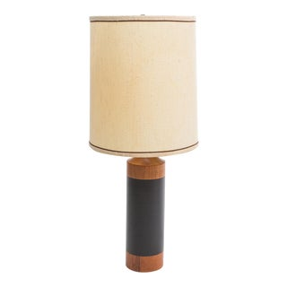 Leather wrapped walnut table lamp-1960's