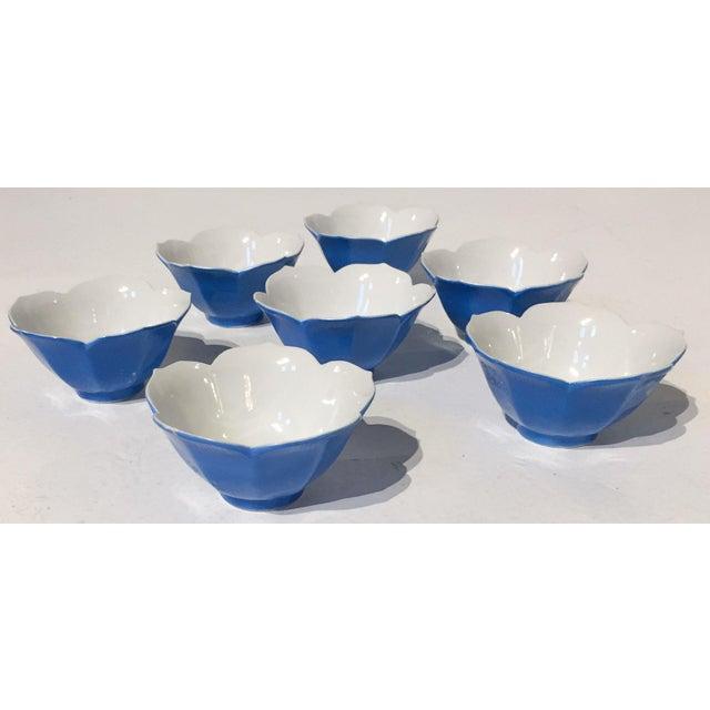 Mid-Century Blue Lotus Leaf Serving Bowls - Set of 7 - Image 4 of 6