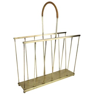 Maxwell Phillips Mid-Century Brass Magazine Rack