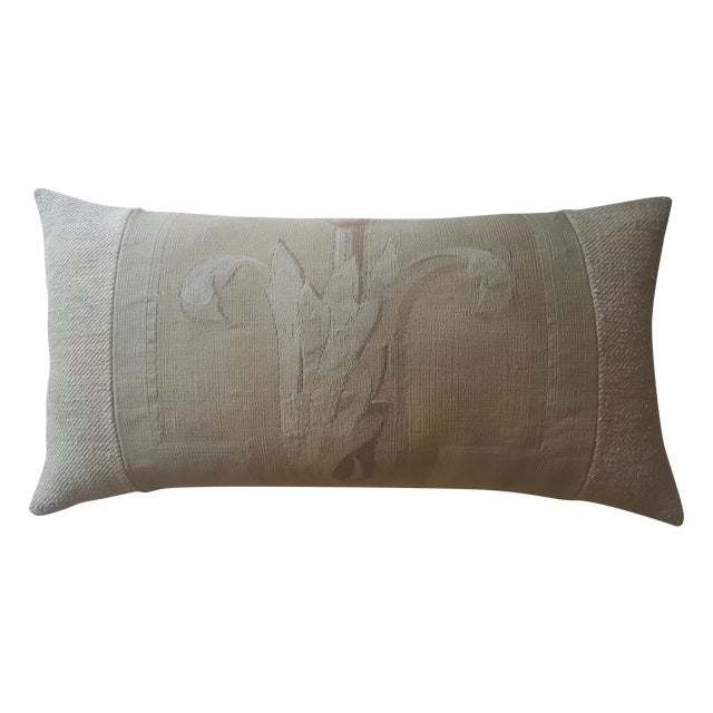 Vintage French Aubusson & Hemp Pillow - Image 1 of 3