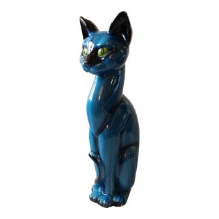 Mid-Century Modern Blue Ceramic Pottery Cat