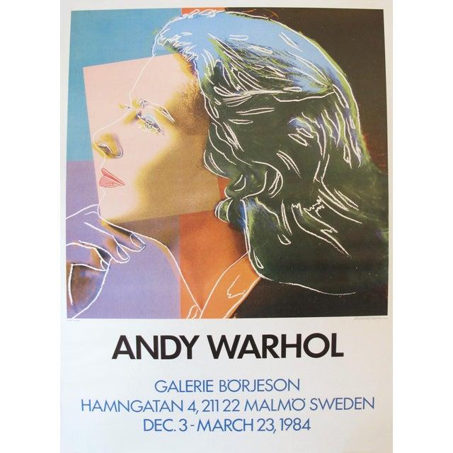"Image of 1984 Andy Warhol ""Ingrid Bergman"" Swedish Exhibition Poster"